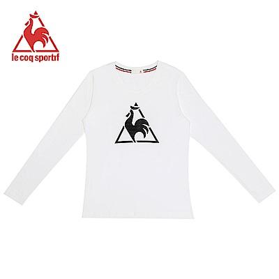 le coq sportif 法國公雞牌經典LOGO印花圓領長袖T恤 女-白