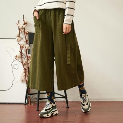 慢 生活 鬆緊腰工裝風口袋吊帶寬褲- 綠色