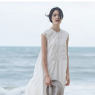 旅途原品_昔時_原創設計輕禮服旗袍連衣裙-米白