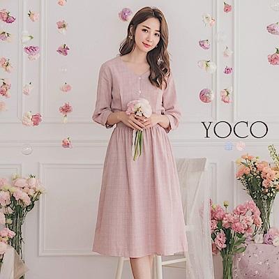 東京著衣-YOCO 高貴典雅V領排釦七分袖格子洋裝-S.M.L(共兩色)