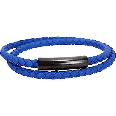 BOTTEGA VENETA 仿舊金屬扣調整式編織小羊皮雙圈手環(寶石藍)