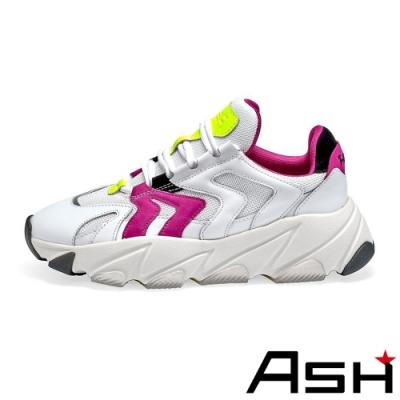 ASH-EXTREME時尚潮流波浪纹拼接增高厚底老爹鞋-螢紅白
