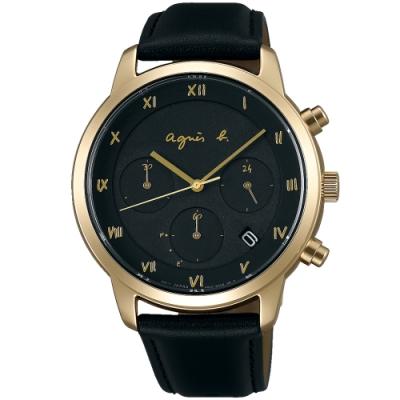 agnes b.法式風情太陽能計時手錶(BZ5002P1)-黑x金/40mm
