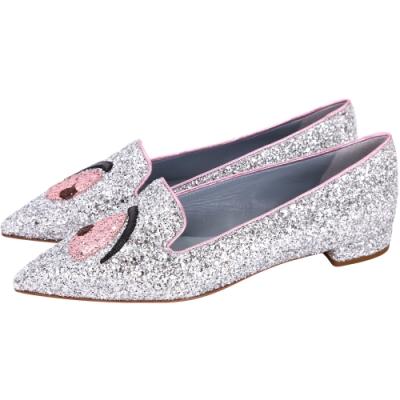 Chiara Ferragni 銀粉色亮片拼接尖頭樂褔鞋-39號(展示品)