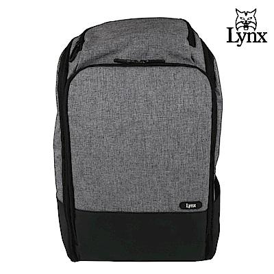 【LYNX】美國山貓商務休閒多隔層機能後背包-灰色