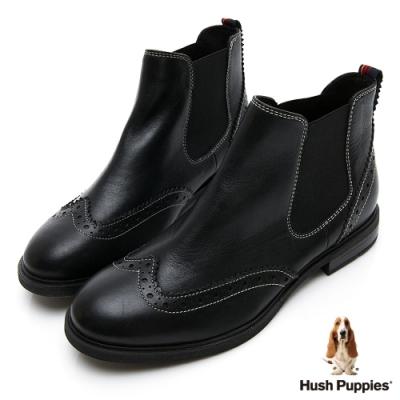 Hush Puppies Bailey 個性皮革女短靴-黑色