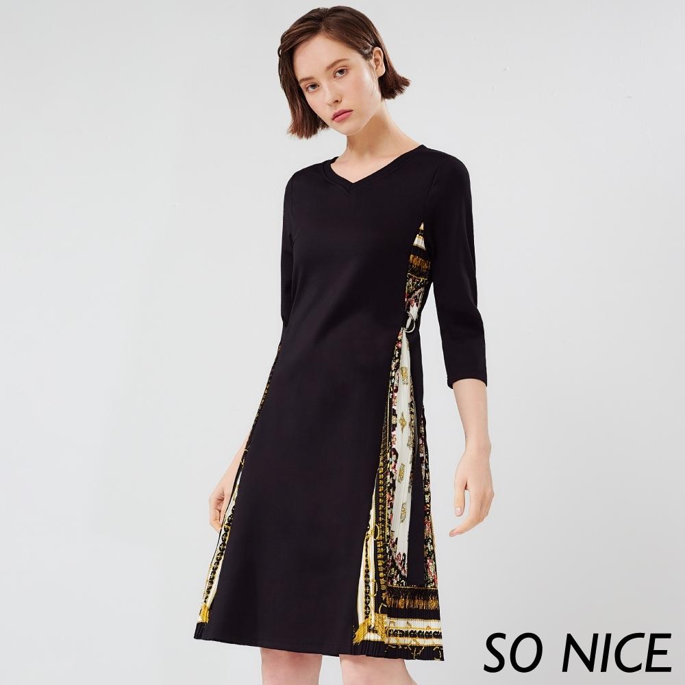 SO NICE優雅絲巾羅馬布洋裝