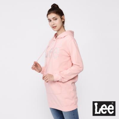 Lee 帽T 銀箔Logo 長版連帽厚T 女款 粉紅色