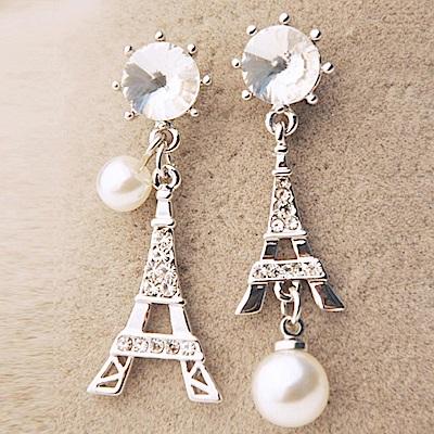 iSFairytale伊飾童話 巴黎風情 鐵塔水鑽珍珠垂墜耳環 銀