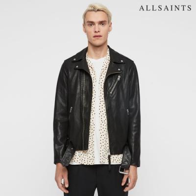 ALLSAINTS RIGG 率性多變金屬配飾純羊皮騎士皮衣外套-黑