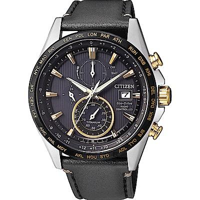 CITIZEN 星辰 光動能電波鈦金屬手錶-黑皮帶/42mm(AT8158-14H)