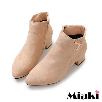 Miaki-踝靴玩美穿搭粗跟尖頭短靴-卡其
