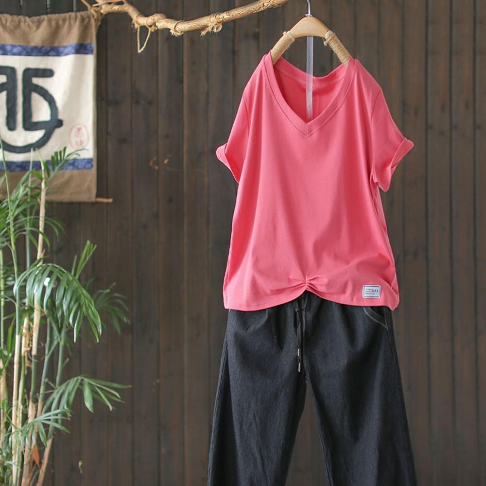 純棉V領T恤百搭素色褶皺下襬短袖上衣多色-設計所在