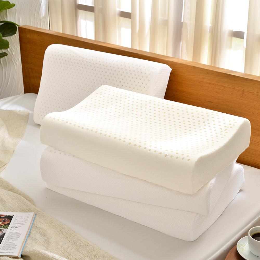 Grace Life 完美舒眠 人體工學型透氣100%天然乳膠枕-一對