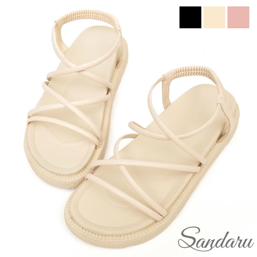 山打努SANDARU-涼鞋 足弓造型交叉線條厚底鞋羅馬鞋-米