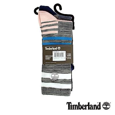 Timberland 女款粉色3入不規則條紋襪