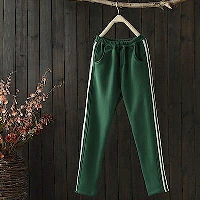 雙杠/寬鬆顯瘦純棉加絨運動休閒小腳長褲-設計所在