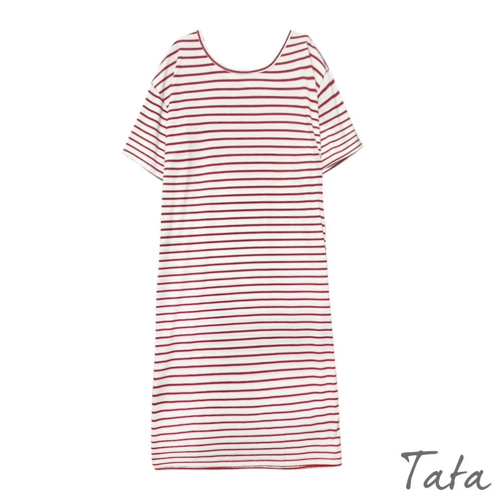後交叉露背開岔條紋洋裝 TATA-(M~XL)