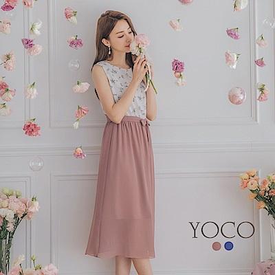 東京著衣-YOCO 網紅最愛腰綁帶碎花印圖背心洋裝-S.M.L(共兩色)