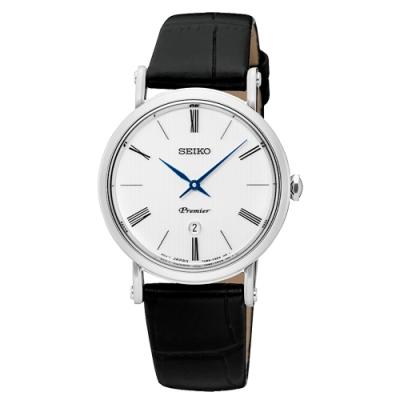 SEIKO 精工Premier簡約薄款真皮手錶-SXB431J1-白X黑/30mm