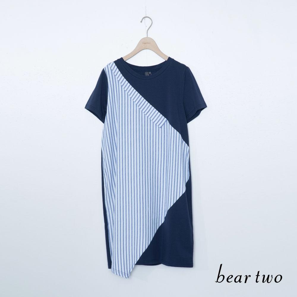 beartwo-條紋拼接長上衣-藍