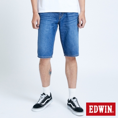 EDWIN 大尺碼 503 五袋式仿舊水洗 牛仔短褲-男-中古藍