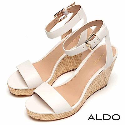 ALDO 原色一字繫踝釦帶麻花編織楔型跟涼鞋~清新白色