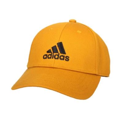 ADIDAS 運動帽-純棉 遮陽 防曬 鴨舌帽 帽子 愛迪達 基本款 棒球帽 GE0633 芥茉黃黑