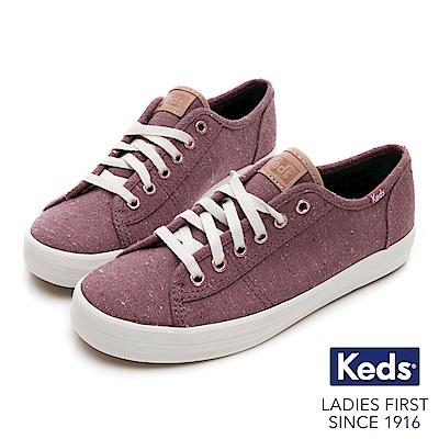 Keds KICKSTART 復古風素面綁帶休閒鞋-紫紅