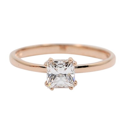 SWAROVSKI 施華洛世奇 ATTRACT璀璨方形水晶玫瑰金戒指