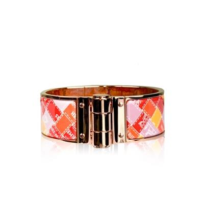 HERMES 經典Charniere 琺瑯緞帶格紋圖案 中版 PM尺寸 手環(玫瑰金)