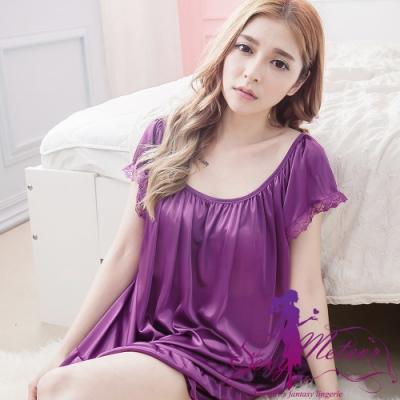 睡衣 全尺碼 素色滾蕾絲荷葉邊短袖二件式睡衣組(神秘深紫) Sexy Meteor