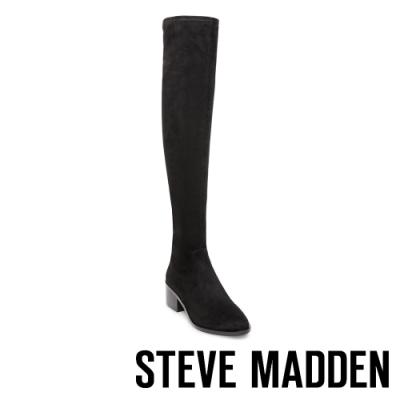 STEVE MADDEN-GEORGETTE 絨面尖頭粗跟超長筒彈性套靴-絨黑色