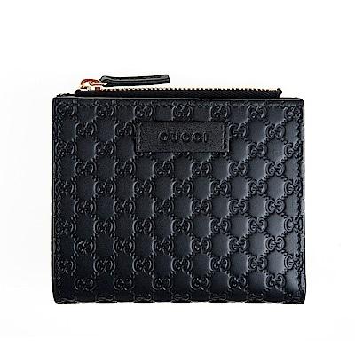 GUCCI經典Guccissima系列雙G壓紋LOGO牛皮零錢扣式短夾 (黑色)