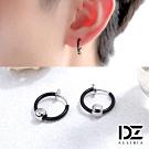 DZ 穿垂圓珠 316L白鋼C圈耳環(黑系)