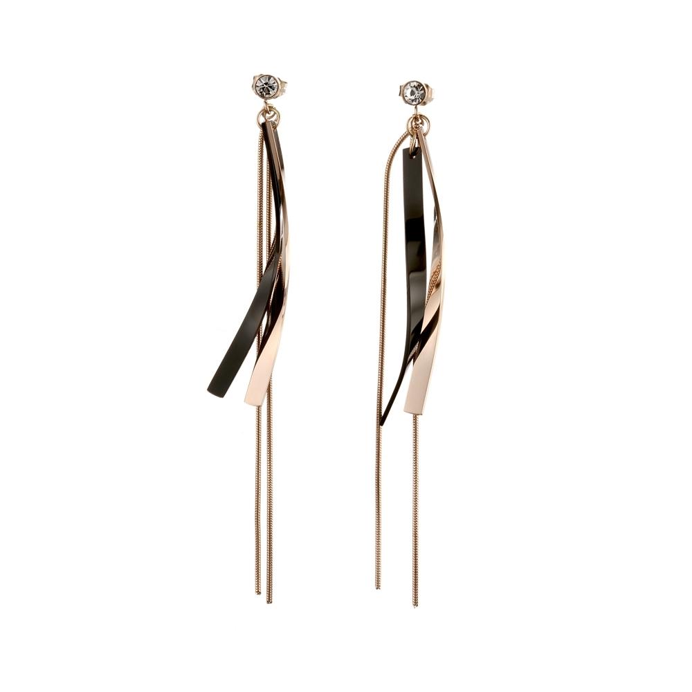 tic tac toe 垂吊式白鋼耳環系列-鋯石流蘇 TR-3111RG