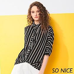 SO NICE都會撞色條紋造型雪紡襯衫