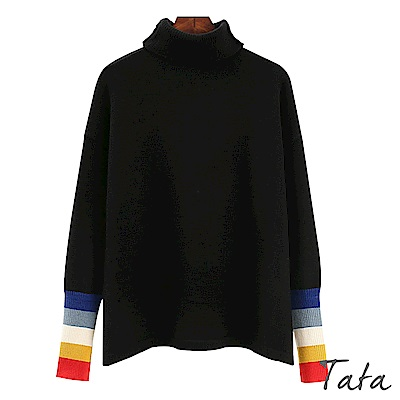 時尚高領拼色袖針織上衣 TATA