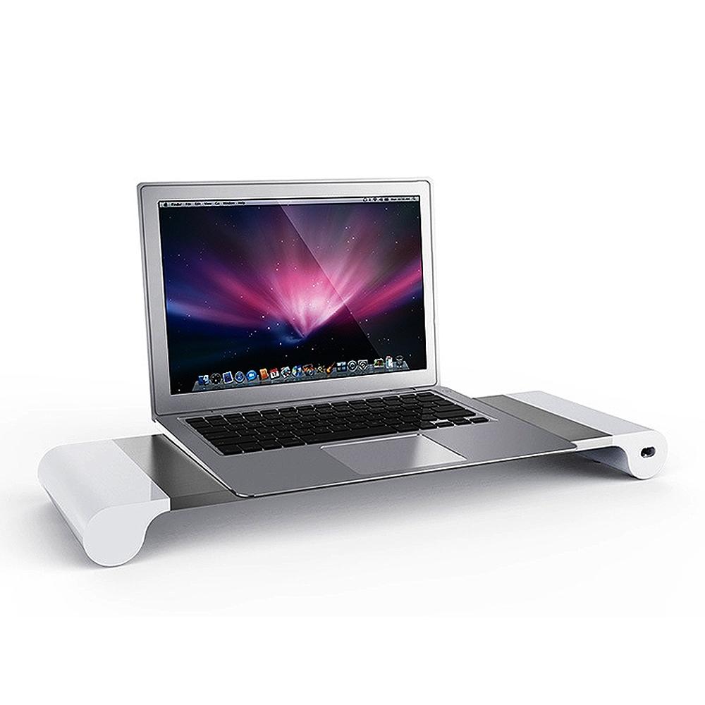 USB充電多功能置物螢幕架/鍵盤收納支架