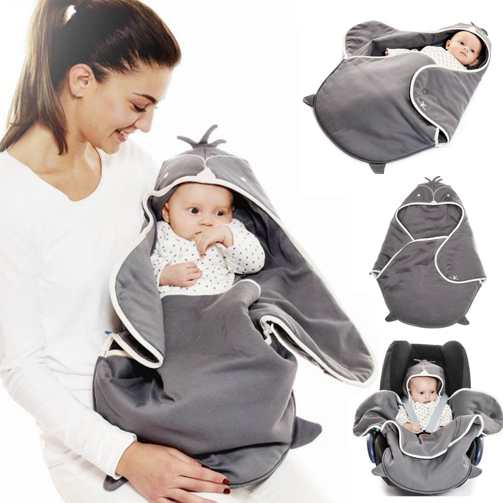 海天使輕巧連帽抱袋-可愛動物款/企鵝灰