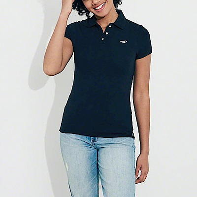 海鷗 Hollister 經典海鷗刺繡標誌短袖Polo衫(女)-深藍色