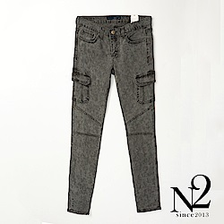 下著 正韓側邊口袋仿舊渲染牛仔褲(灰) N2