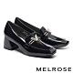 高跟鞋 MELROSE 時尚金屬飾釦方頭漆皮粗高跟鞋-黑 product thumbnail 1