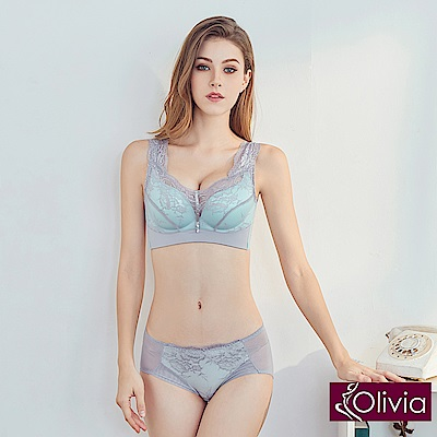 Olivia 無鋼圈摩登性感蕾絲側加高內衣+小褲-薄荷綠