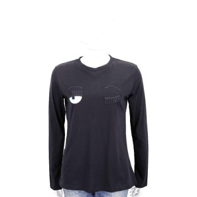 Chiara Ferragni Flirting 刺繡眨眼黑色棉質長袖T恤