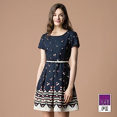 ILEY伊蕾 修身立裁打褶裙襬幾何印花洋裝(藍)