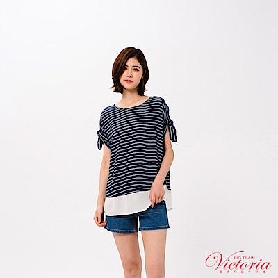 Victoria 袖口打結撞色剪接寬鬆短袖T-女-藍底白條
