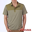 CARAVA《男條紋排汗POLO衫》(橄綠)
