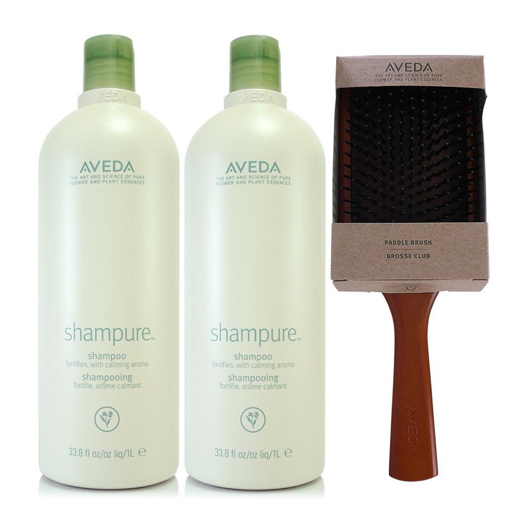 AVEDA 純香洗髮菁1000ml*2(洗髮精)+木質髮梳*1把