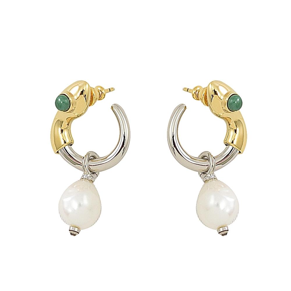 CHLOE 經典C LOGO珍珠造型垂飾耳環(金/銀)